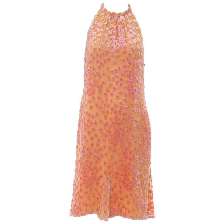 Chanel Tangerine & Pink Voided Silk Chiffon Velvet Halter Dress, Cruise 2001 For Sale