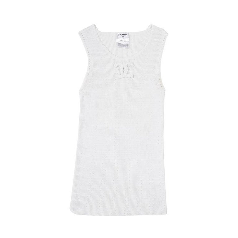 CHANEL Tank Top in White Cotton Size 36FR