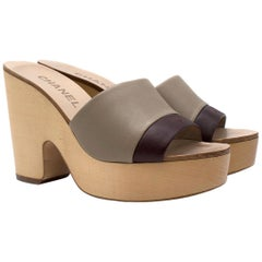 Chanel Taupe & Burgundy Leather Mules  36.5 (IT)