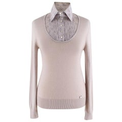Chanel Taupe Collared Cashmere-Blend Jumper 40