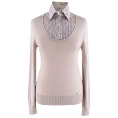 Chanel Taupe Collared Cashmere-Blend Jumper - Size US 10