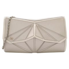 Chanel Taupe Geometric Clutch Bag with Shoulder Strap