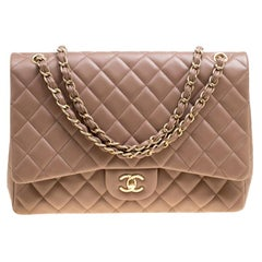 Chanel Taupe Quilted Leather Maxi Classic Single Flap Bag