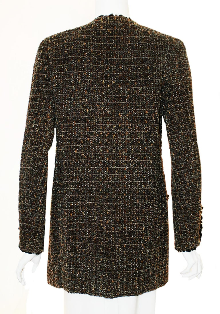 Chanel Taupe Tweed Jacket  Black Trim, 1994 Fall Collection  In Excellent Condition For Sale In Palm Beach, FL