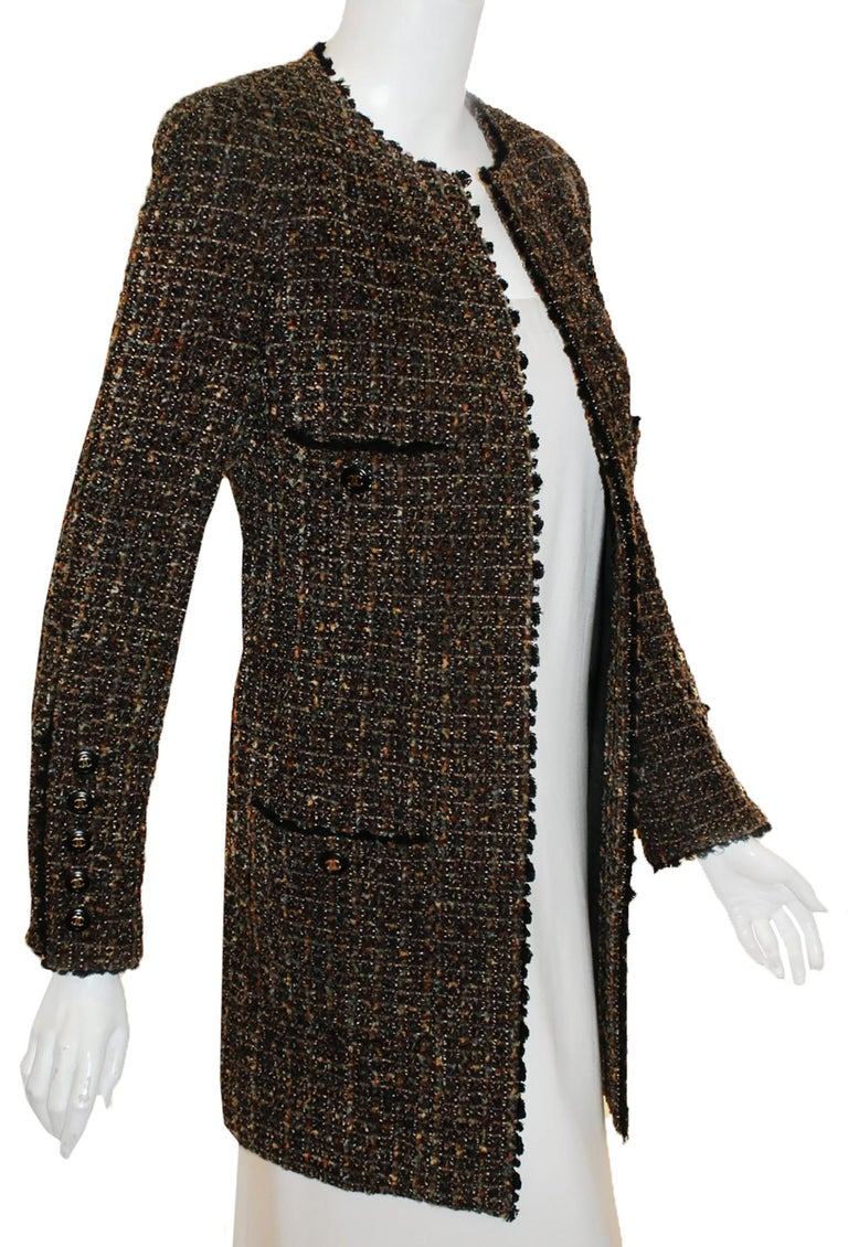 Women's Chanel Taupe Tweed Jacket  Black Trim, 1994 Fall Collection  For Sale