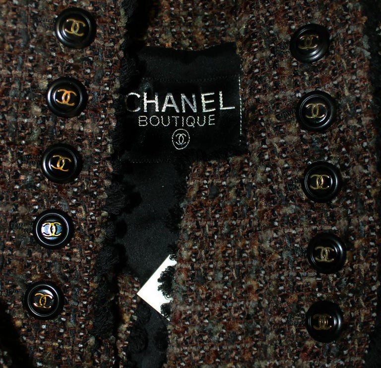 Chanel Taupe Tweed Jacket  Black Trim, 1994 Fall Collection  For Sale 1