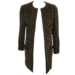Chanel Taupe Tweed Jacket  Black Trim, 1994 Fall Collection