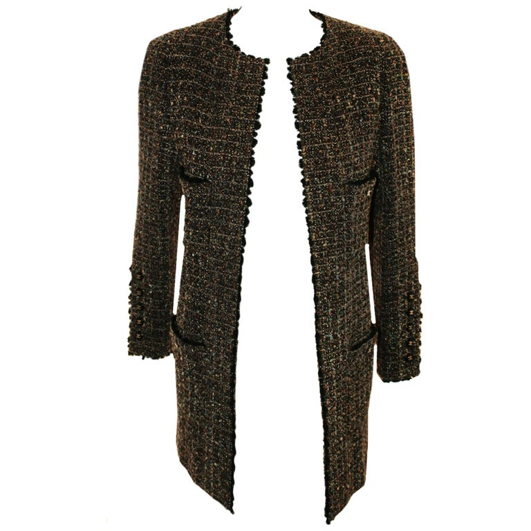 Chanel Taupe Tweed Jacket  Black Trim, 1994 Fall Collection  For Sale