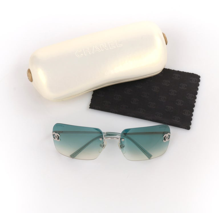 8646d0bfde89 DESCRIPTION  CHANEL Teal Blue Gradient Lens Crystal Rhinestone CC Rimless  Sunglasses 4017-D Brand