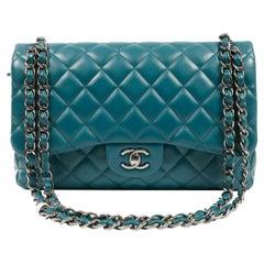 Chanel Teal Blue Lambskin Jumbo Classic Flap Bag
