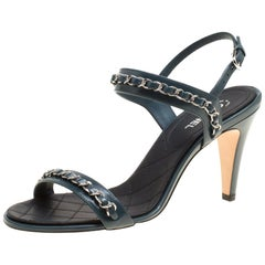 Chanel Teal Blue Leather Chain Link Ankle Strap Sandals Size 38