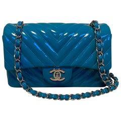 Chanel Teal Chevron Quilted Patent Leather Mini Classic Flap
