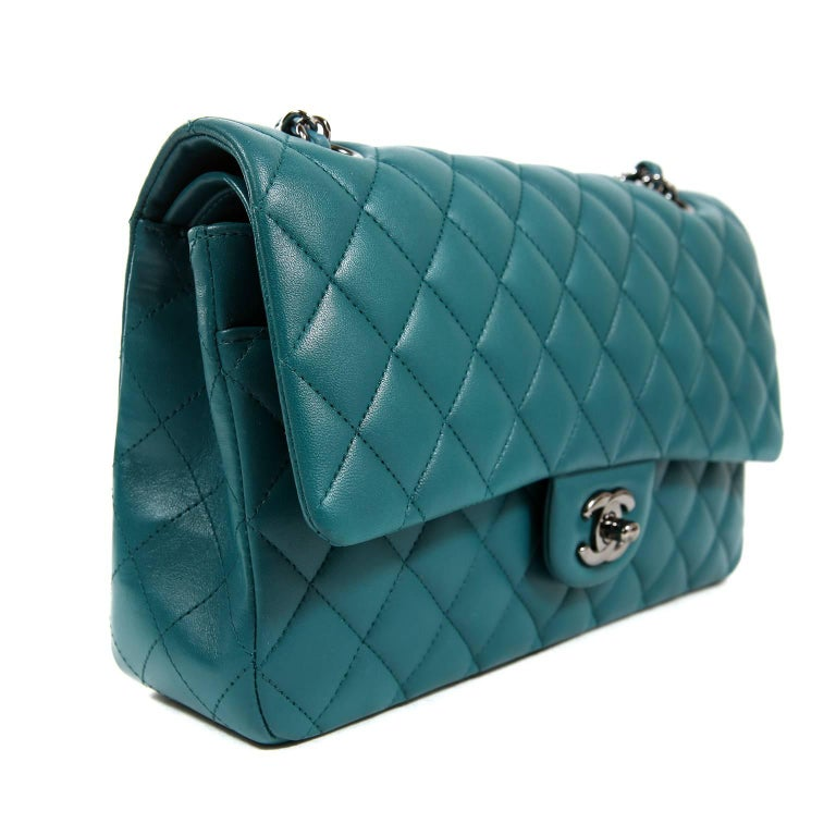 8c1cbaf4318 Chanel Teal Lambskin Medium Classic Double Flap Bag For Sale at 1stdibs