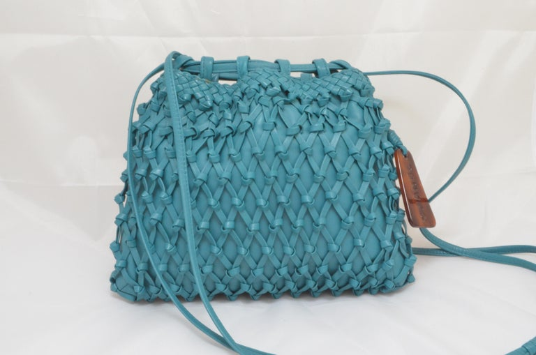 Blue Chanel Teal Leather Knot Bucket Bag For Sale