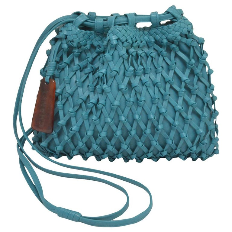 Chanel Teal Leather Knot Bucket Bag For Sale