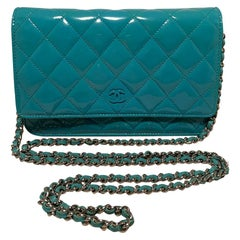 Chanel Teal Patent Leather WOC Wallet on a Chain