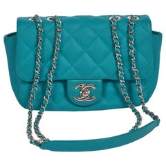 Chanel Teal PVC Rain Cover Small Flap Bag