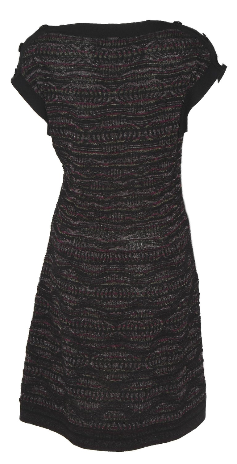 Chanel Textured Knit Dress Black/Purple/Silver Throughout  In Excellent Condition For Sale In Palm Beach, FL