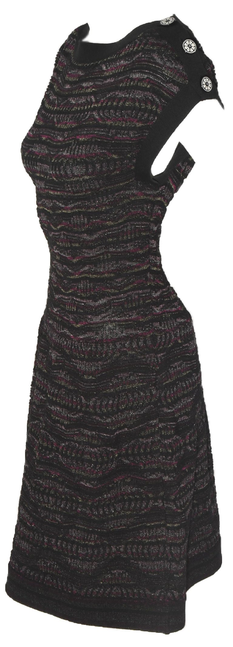 Women's Chanel Textured Knit Dress Black/Purple/Silver Throughout  For Sale