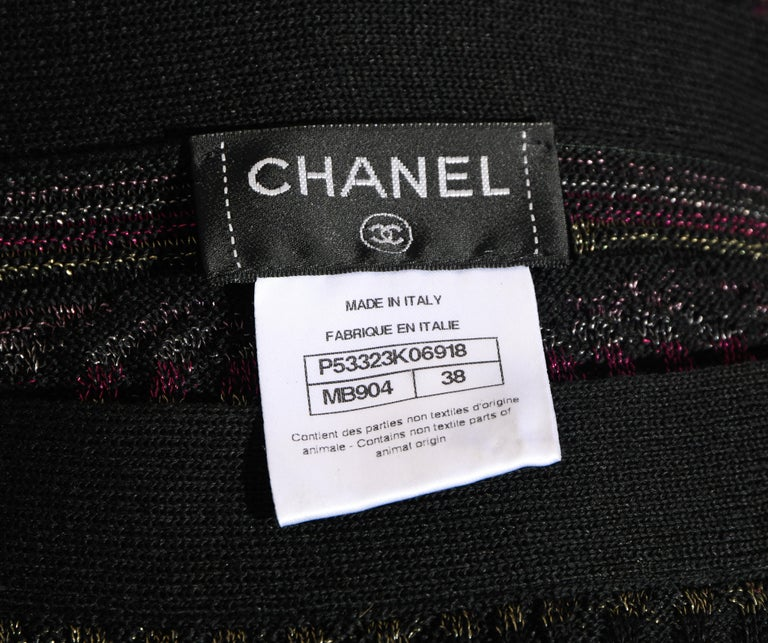 Chanel Textured Knit Dress Black/Purple/Silver Throughout  For Sale 1