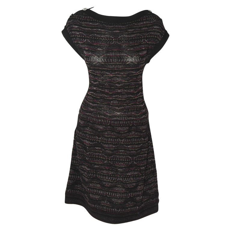 Chanel Textured Knit Dress Black/Purple/Silver Throughout  For Sale