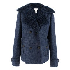 Chanel textured-lapel blue tweed jacket 34