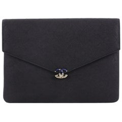 Chanel Thread Around Flap Pouch Quilted Caviar Medium