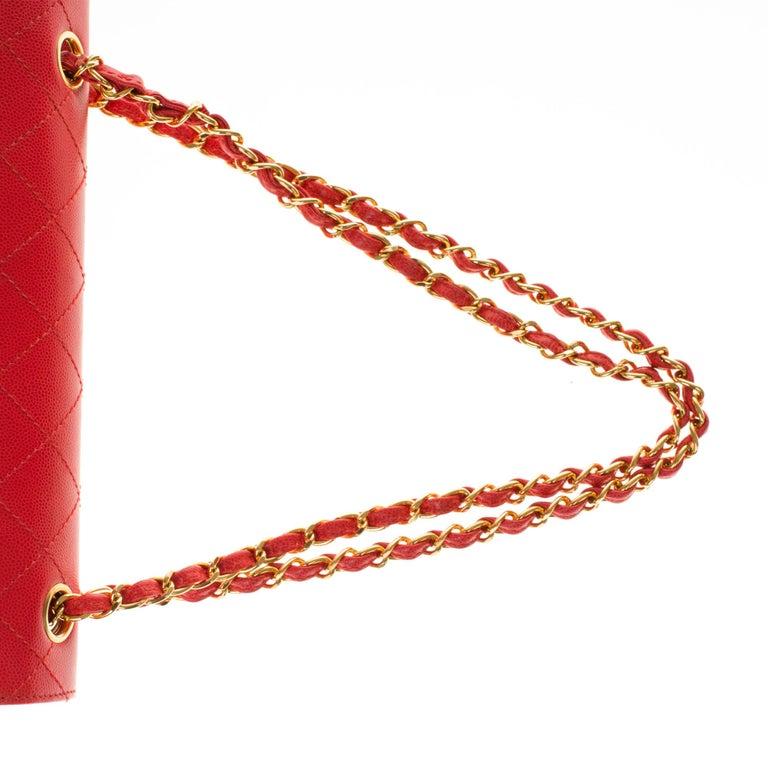 Chanel Timeless 25cm crossbody handbag in red padded caviar leather, GHW 6