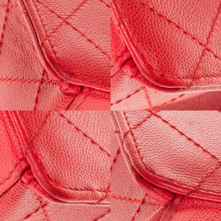 Chanel Timeless 25cm crossbody handbag in red padded caviar leather, GHW 8