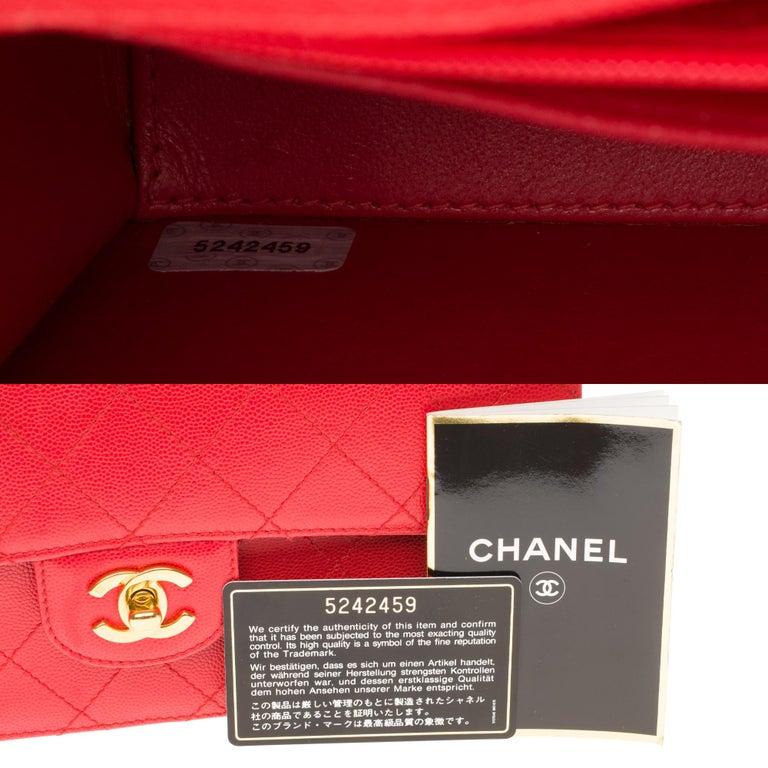 Chanel Timeless 25cm crossbody handbag in red padded caviar leather, GHW 4