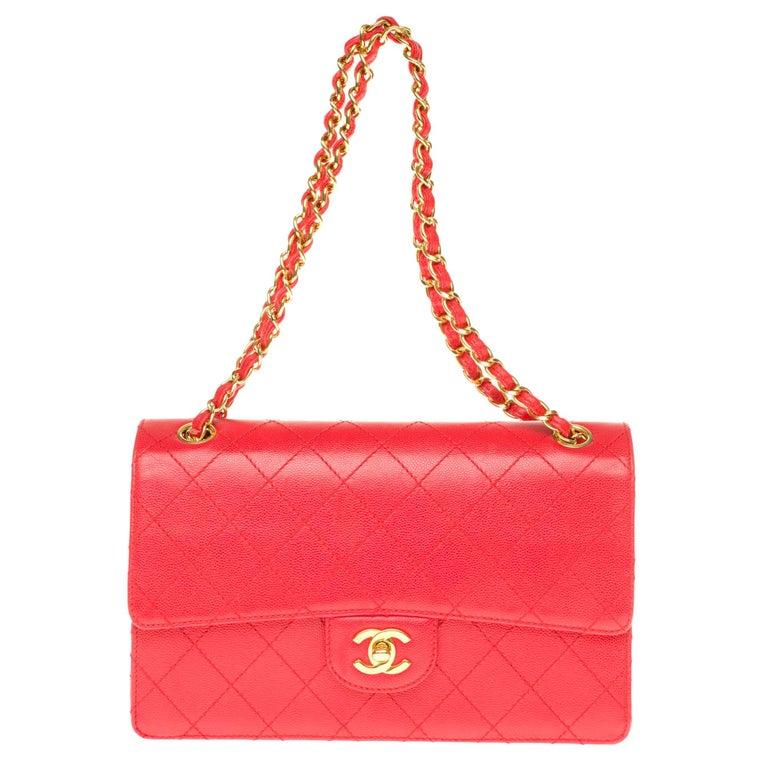 Chanel Timeless 25cm crossbody handbag in red padded caviar leather, GHW