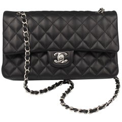 Chanel Timeless Bag in Black Lambskin Leather and Silver Hardware