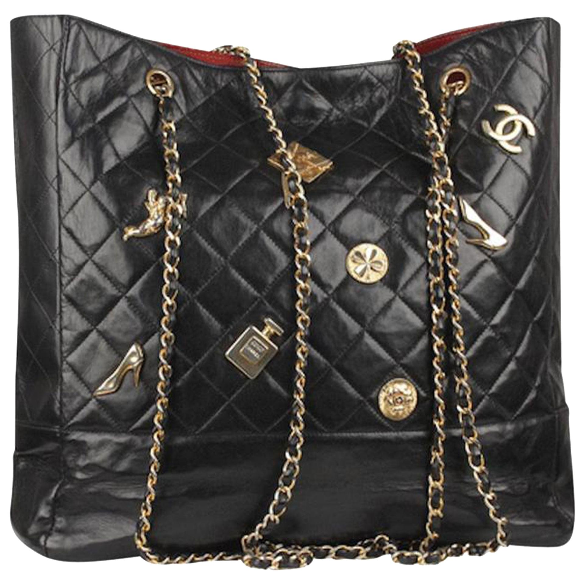 Chanel Timeless Bag Rare Vintage 1990's Limited Edition Lucky Charm Black Tote