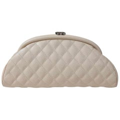 Chanel Timeless Beige CC Quilted Caviar Clutch