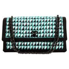 Chanel Timeless Black Green & White Tweed Crossbody Bag