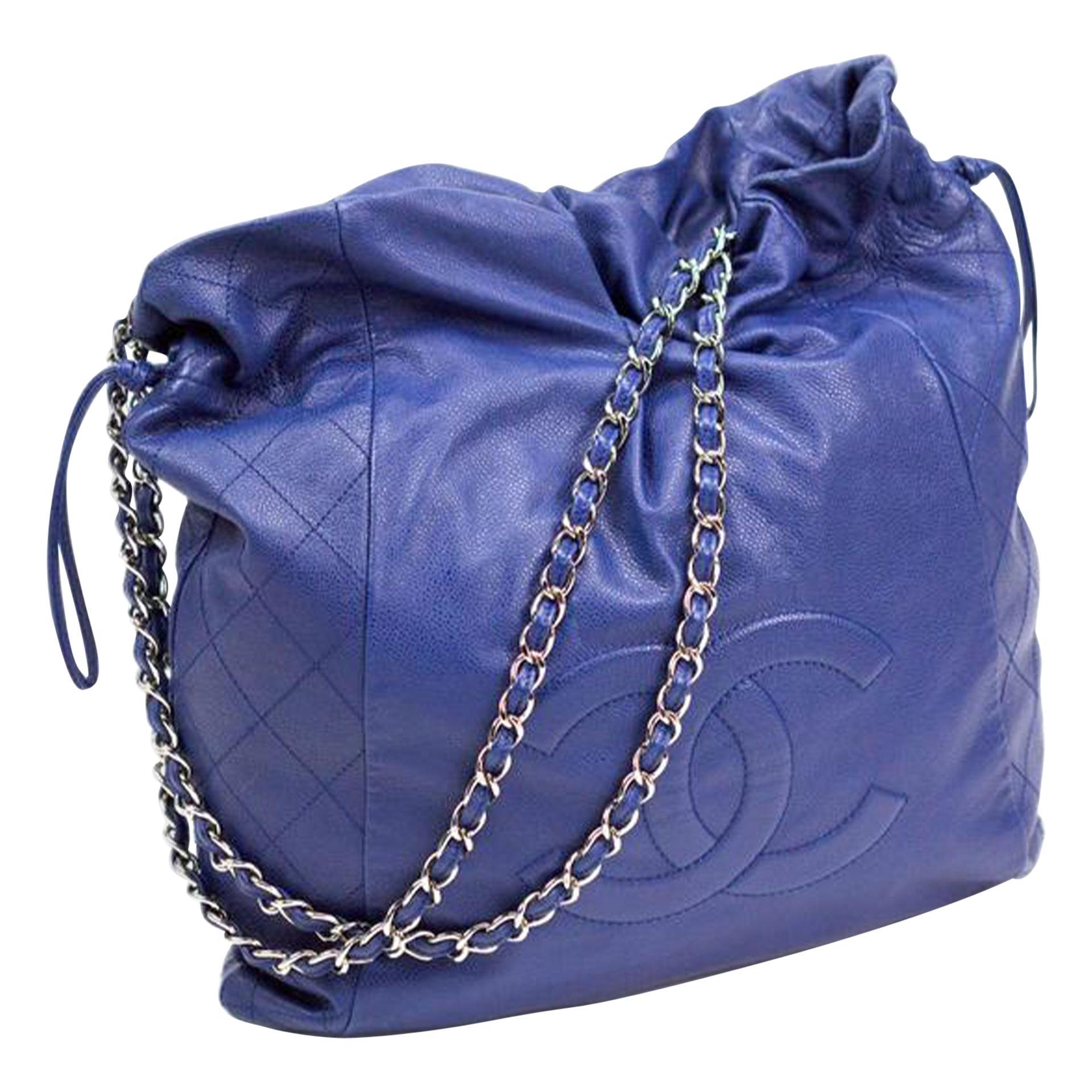 Chanel Timeless Bon Bon Cc Blue Caviar Leather Tote