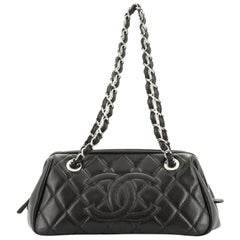 Chanel Timeless CC Chain Bowler Bag Quilted Caviar Small