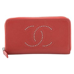 Chanel Timeless CC Zip Around Wallet Studded Leather Long