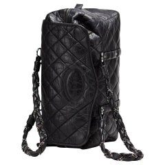 Chanel Timeless Classic Flap Quilted Distressed Large Blck Calfskin Leather Tote