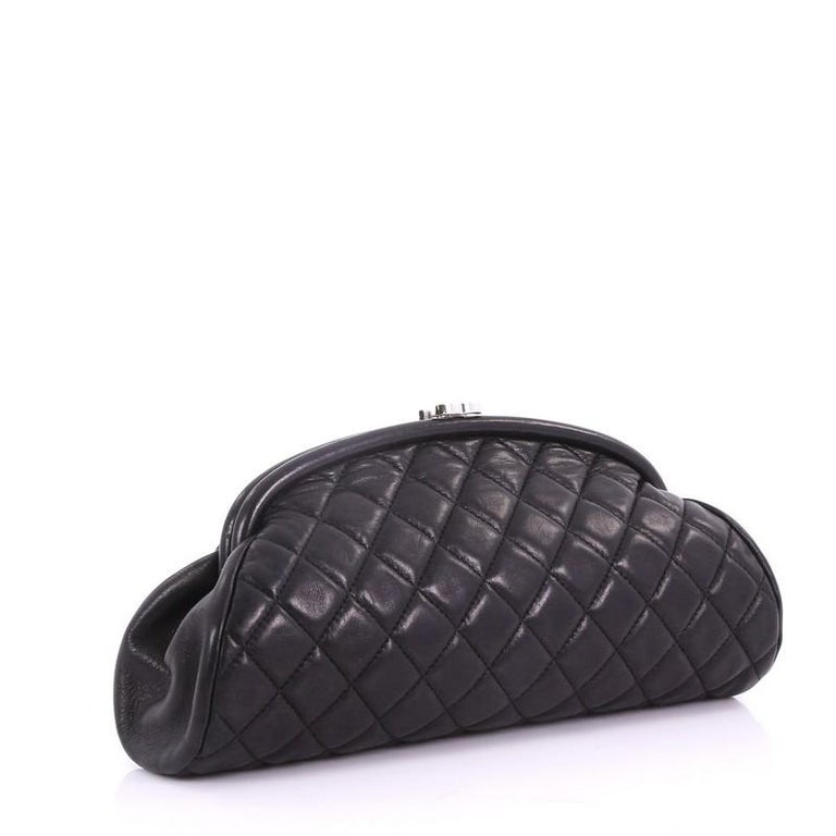 Black Chanel Timeless Clutch Quilted Lambskin For Sale
