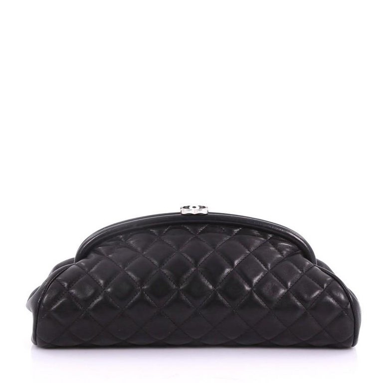 Chanel Timeless Clutch Quilted Lambskin In Good Condition For Sale In New York, NY