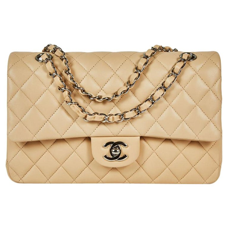 6bd55ef742a094 CHANEL Timeless Double Flap Bag in Beige Quilted Lamb Leather For Sale