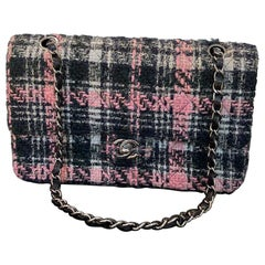 CHANEL Timeless Flap Bag in Pink and Black Tweed