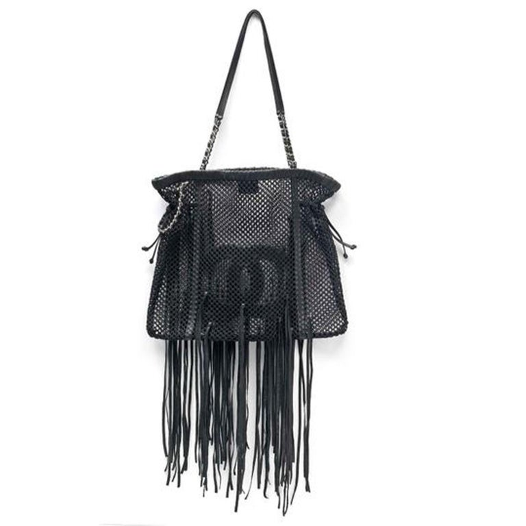 Chanel Timeless Fringe Large Mesh Black Leather Tote In Excellent Condition For Sale In Miami, FL