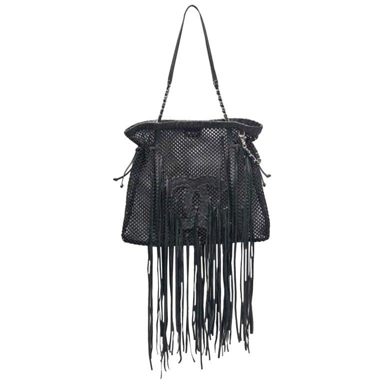 Chanel Timeless Fringe Large Mesh Black Leather Tote For Sale