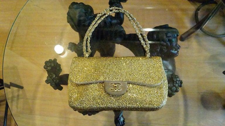 924ec83e941b Chanel bag customized in GOLD Swarovski crystals Limited edition.