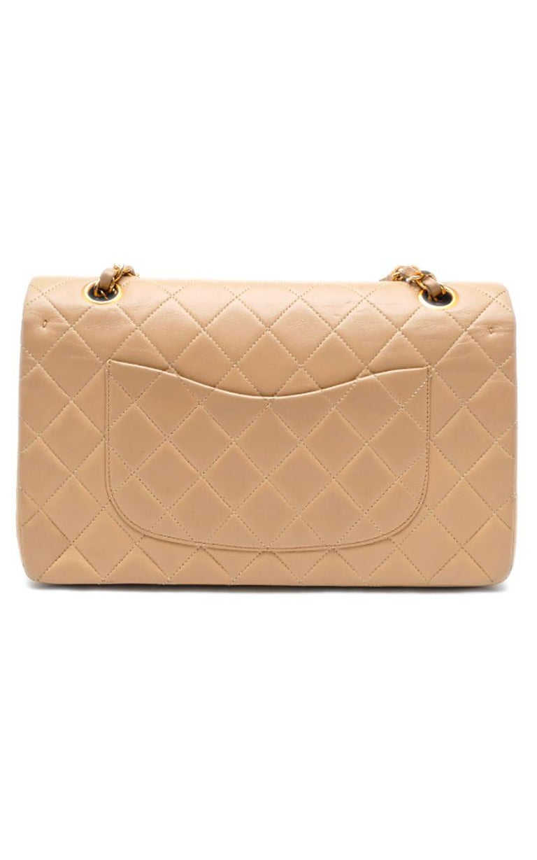 Beige Chanel Timeless handbag in beige quilted leather