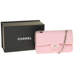Chanel Timeless handbag in Pink quilted jersey and silver hardware
