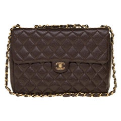 Chanel Timeless Jumbo single flap handbag in brown quilted caviar leather, GHW