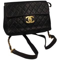 Chanel Timeless Jumbo Vintage Dark Brown Lambskin  Leather  Backpack